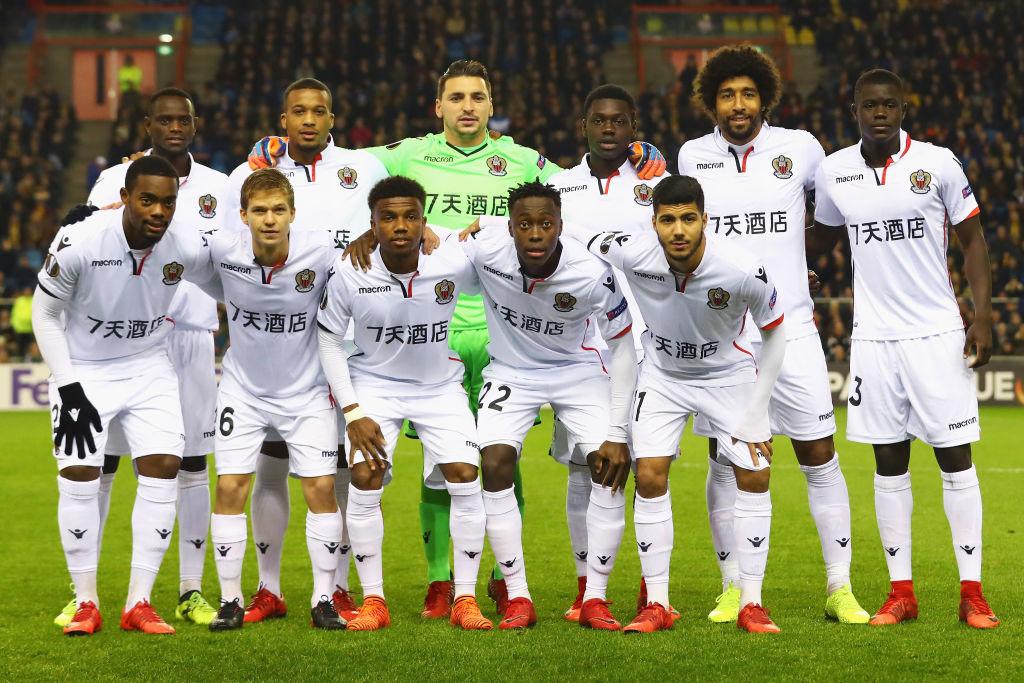The team of OGC Nice line up during the UEFA Europa League group K match between Vitesse and OGC Nice at on December 7, 2017 in Arnhem, Netherlands.