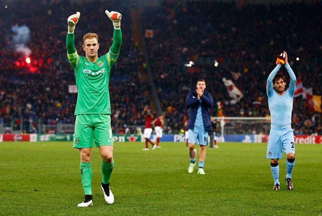 Silva, Dzeko, and Hart, Manchester City