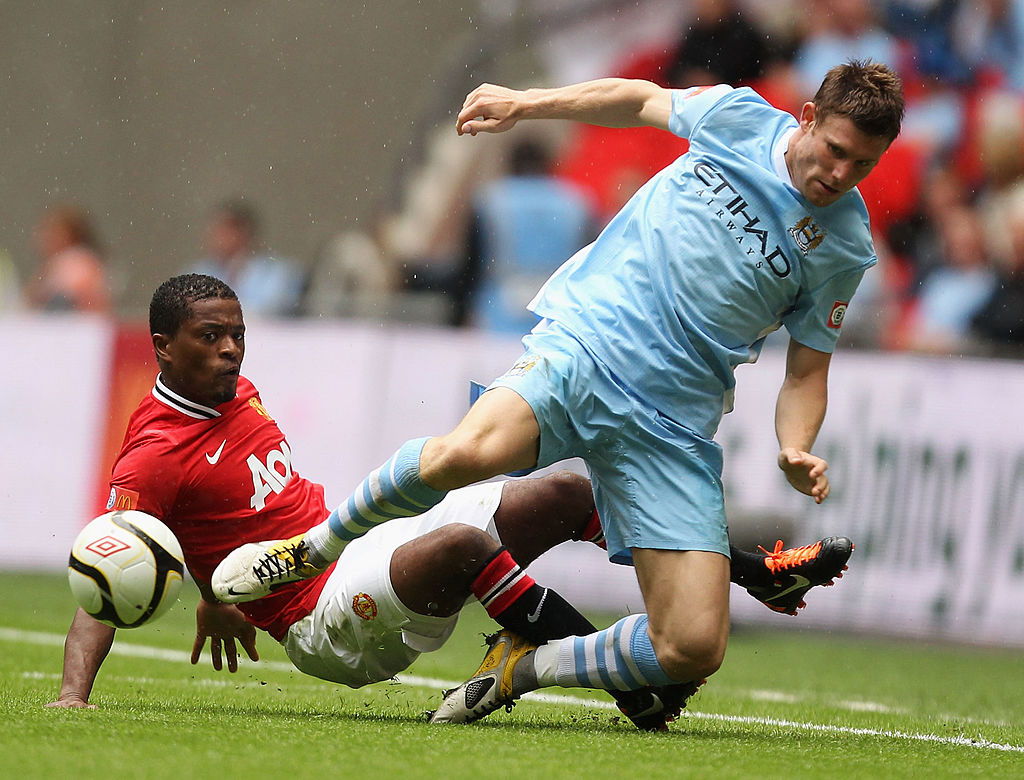 Patrice Evra, Manchester United, Manchester City, James Milner, Premier League