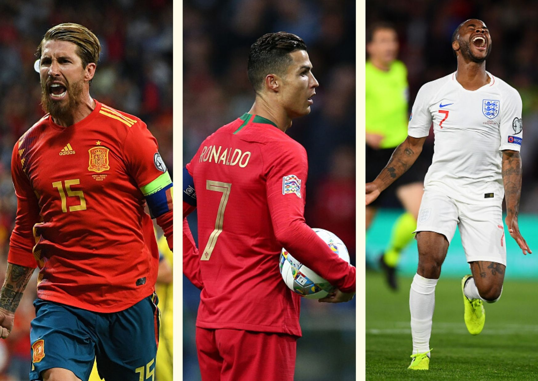 Sergio Ramos, Cristiano Ronaldo, Raheem Sterling, Euro 2020