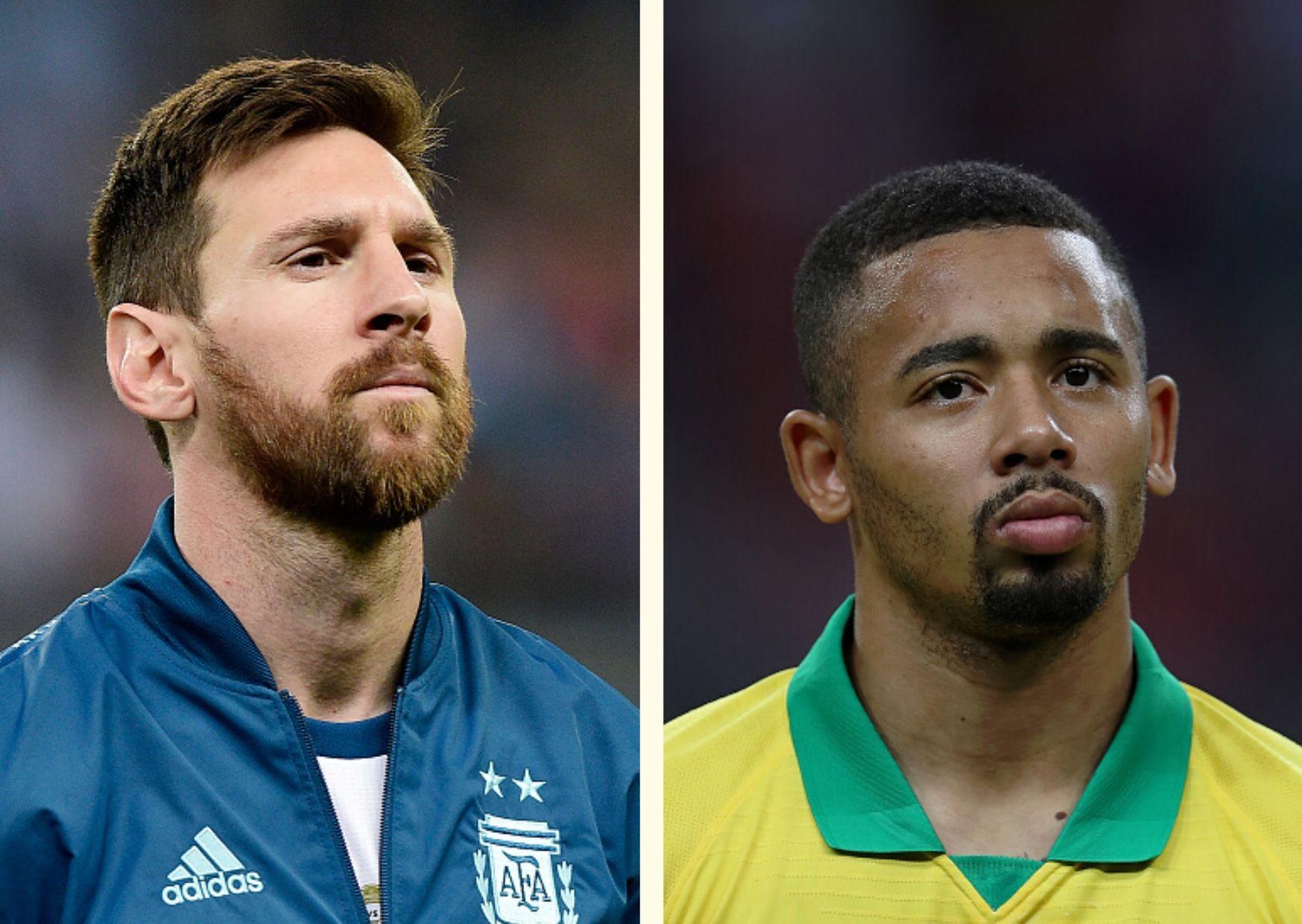 Lionel Messi, Gabriel Jesus, Argentina, Brazil