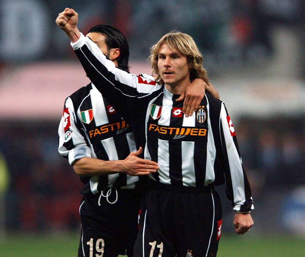 Pavel Nedved of Juventus celebrates scoring