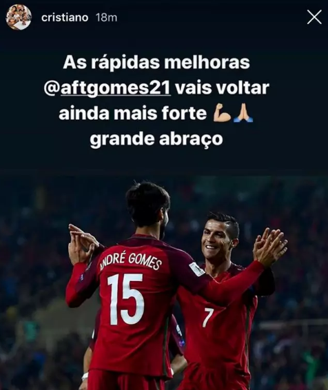 Cristiano showed his class, as he sent a message of encouragement and speedy recovery to Portugal teammate Andre Gomes.