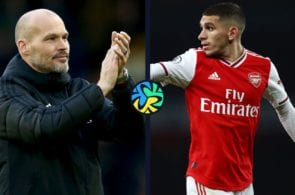 Ljungberg and Torreira share a special moment after the match today