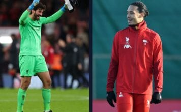Van Dijk pranks Alisson after a big win last night image