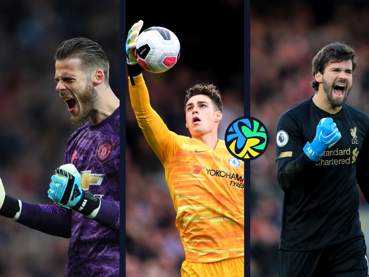 David De Gea of Manchester United, Kepa Arrizabalaga of Chelsea, Alisson Becker of Liverpool