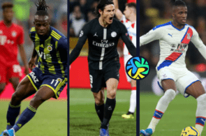 Victor Moses of Chelsea, Edinson Cavani of Paris Saint-Germain, Wilfred Zaha of Crystal Palace