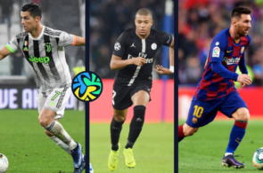 Cristiano Ronaldo of Juventus, Kylian Mbappe of PSG, Lionel Messi of FC Barcelona