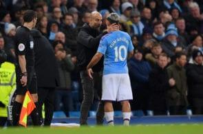 Pep Guardiola, Sergio Aguero, Manchester City