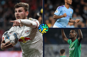 Timo Werner of RB Leipzig, Raheem Sterling of Manchester City, Alexander Isak of Real Sociedad
