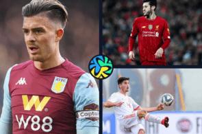 Jack Grealish of Aston Villa, Adam Lallana of Liverpool, Hugo Guillamon of Valencia