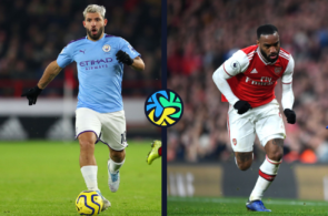 Sergio Aguero of Manchester City, Alexander Lacazette of Arsenal