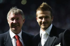 David Beckham of Manchester United and manager Alex Ferguson