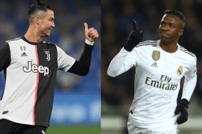 Cristiano Ronaldo of Juventus, Vinicius Junor of Real madrid