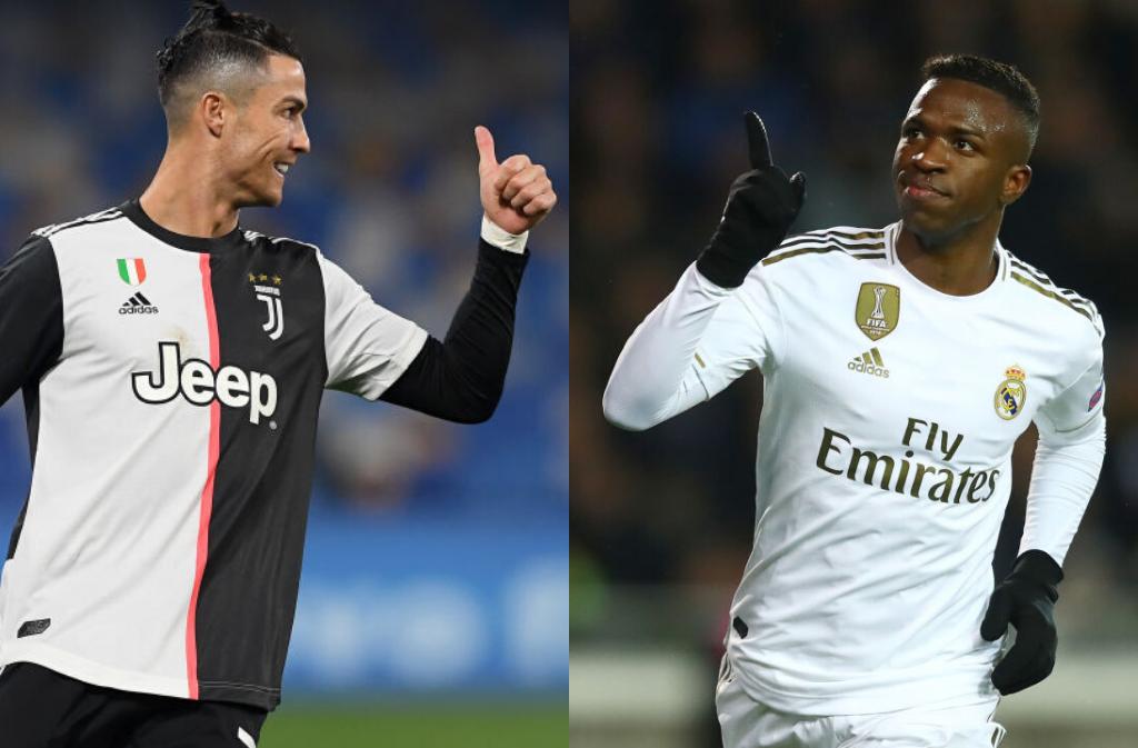 Cristiano Ronaldo of Juventus, Vinicius Junor of Real madrid
