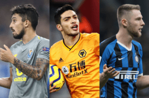 Alex Telles of FC Porto, Raul Jimenez of Wolves, Milan Skriniar of Inter Milan