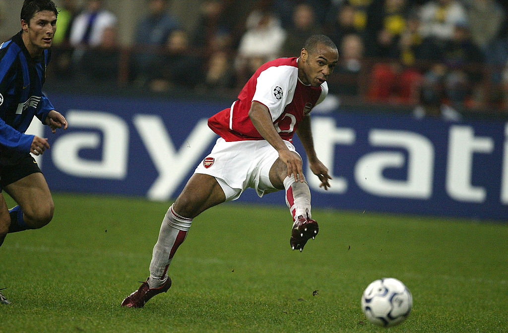 Thierry Henry of Arsenal scores their third goal