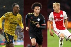 Pierre-Emerick Aubameyang of Arsenal, Leroy Sane of Manchester City, Donny van de Beek of Ajax