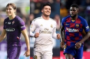 Federico Chiesa of Fiorentina, Luka Jovic of Real Madrid, Samuel Umtiti of FC Barcelona