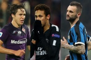 Federico Chiesa of Fiorentina, Neymar of Paris Saint-Germain, Marcelo Brozovic of Inter Milan