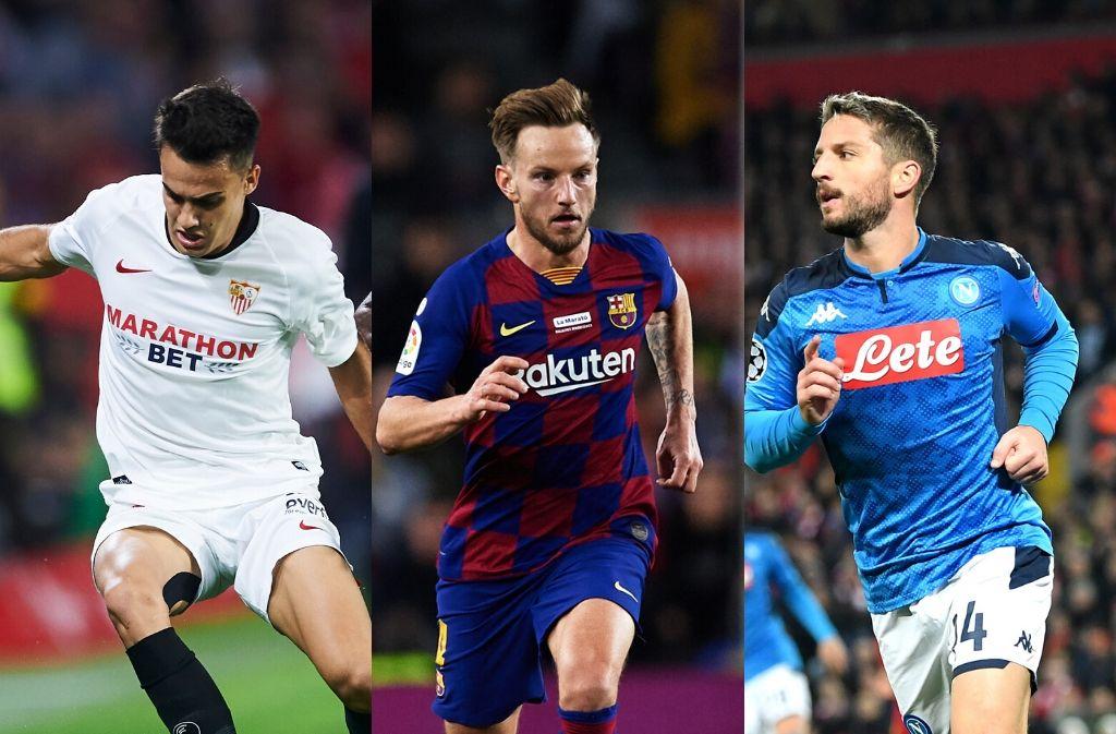 Sergio Reguilon of Sevilla, Ivan Rakitic of Barcelona, Dries Mertens of Napoli