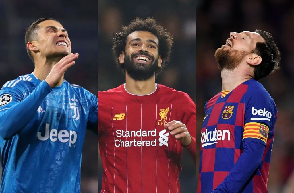 Cristiano Ronaldo of Juventus, Mohamed Salah of Liverpool, Lionel Messi of Barcelona