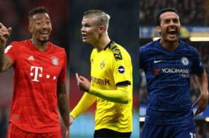 Jerome Boateng of Bayern Munich, Erling Haaland of Borussia Dortmund, Pedro of Chelsea