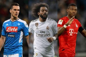 Arkadiusz Milik of Napoli, Marcelo of Real Madrid, David Alaba of Bayern Munich