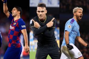 Luis Suarez of FC Barcelona, Lautaro Martinez of Inter Milan, Sergio Aguero of Manchester City