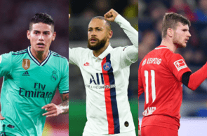 James Rodriguez of Real Madrid, Neymar of Paris Saint-Germain, Timo Werner of RB Leipzig