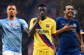 Gabriel Jesus of Manchester City, Ousmane Dembele of FC Barcelona, Pedro of Chelsea