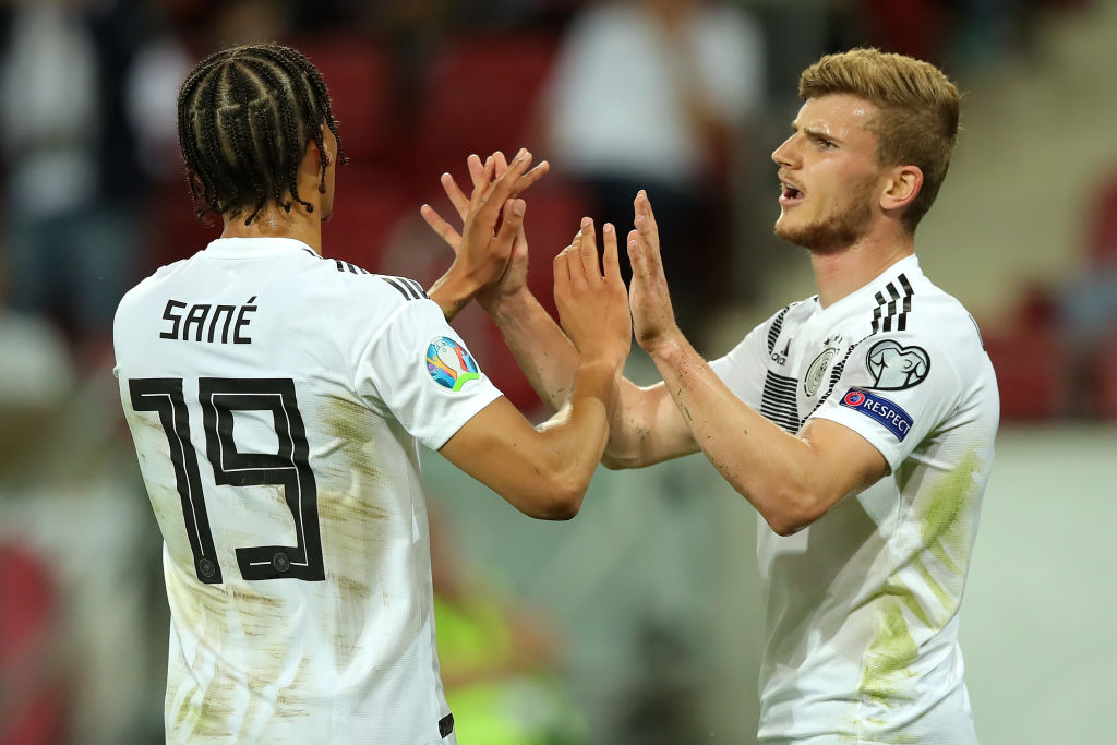 Timo Werner of RB Leipzig, Leroy Sane of Manchester City