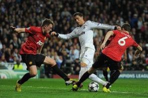 Cristiano Ronaldo, Jonny Evans, Phil Jones, Real Madrid vs Manchester United