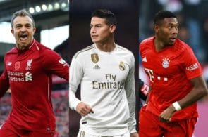 Xherdan Shaqiri of Liverpool, James Rodriquez of Real Madrid, David Alaba of Bayern Munich