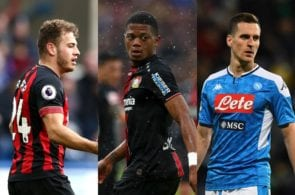 Ryan Fraser of Bournemouth, Leon Bailey of Bayer Leverkusen, Arkadiusz Milik of Napoli