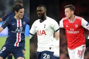 Edinson Cavani of Paris Saint-Germain, Tanguy Ndombele of Tottenham, Mesut Ozil of Arsenal
