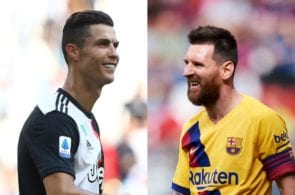 Cristiano Ronaldo of Juventus, Lionel Messi of FC Barcelona
