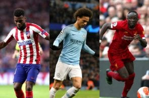 Thomas Lemar of Atletico Madrid, Leroy Sane of Manchester City, Sadio Mane of Liverpool