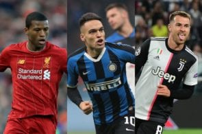 Gini Wijnaldum of Liverpool, Lautaro Martinez of Inter Milan, Aaron Ramsey of Juventus