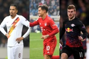 Chris Smalling of AS Roma, Philippe Coutinho of Bayern Munich, Timo Werner of RB Leipzig