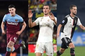 Declan Rice of West Ham, Gareth Bale of Real Madrid, Miralem Pjanic of Juventus