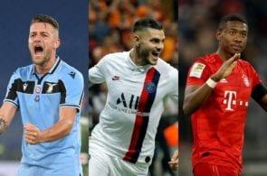 Sergej Mlinkovic-Savic of Lazio, Mauro Icardi of Paris Saint-Germain, David Alaba of Bayern Munich