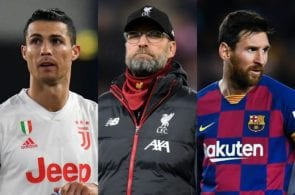Cristiano Ronaldo of Juventus, Jurgen Klopp of Liverpool, Lionel Messi of FC Barcelona