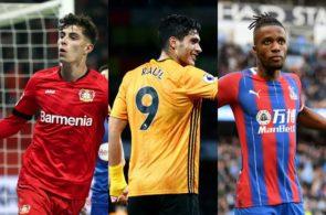 Kai Havertz of Bayer Leverkeusen, Raul Jimenez of Wolves, Wilfred Zaha of Crystal Palace