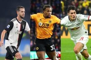 Miralem Pjanic of Juventus, Adama Traore of Wolves, Patrick Schick of RB Leipzig