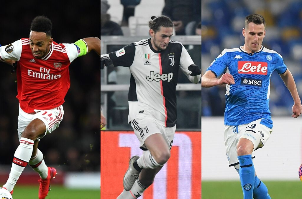 Pierre-Emerick Aubameyang of Arsenal, Adrien Rabiot of Juventus, Arkadiusz Milik of Napoli