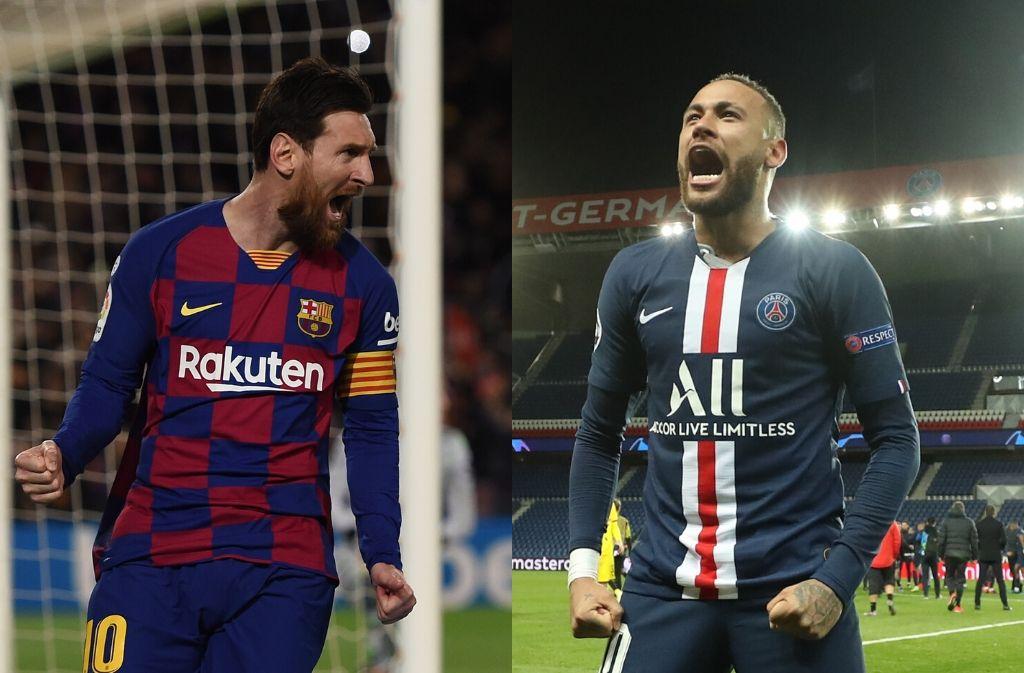 Lionel Messi of FC Barcelona, Neymar Jr. of Paris Saint-Germain