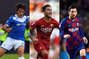 Sandro Tonali of Brescia, Justin Kluivert of AS Roma, Lionel Messi of FC Barcelona