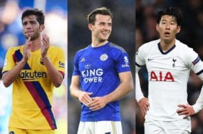 Sergi Roberto of FC Barcelona, Ben Chilwell of Leicester City, Heung-Min Son of Tottenham