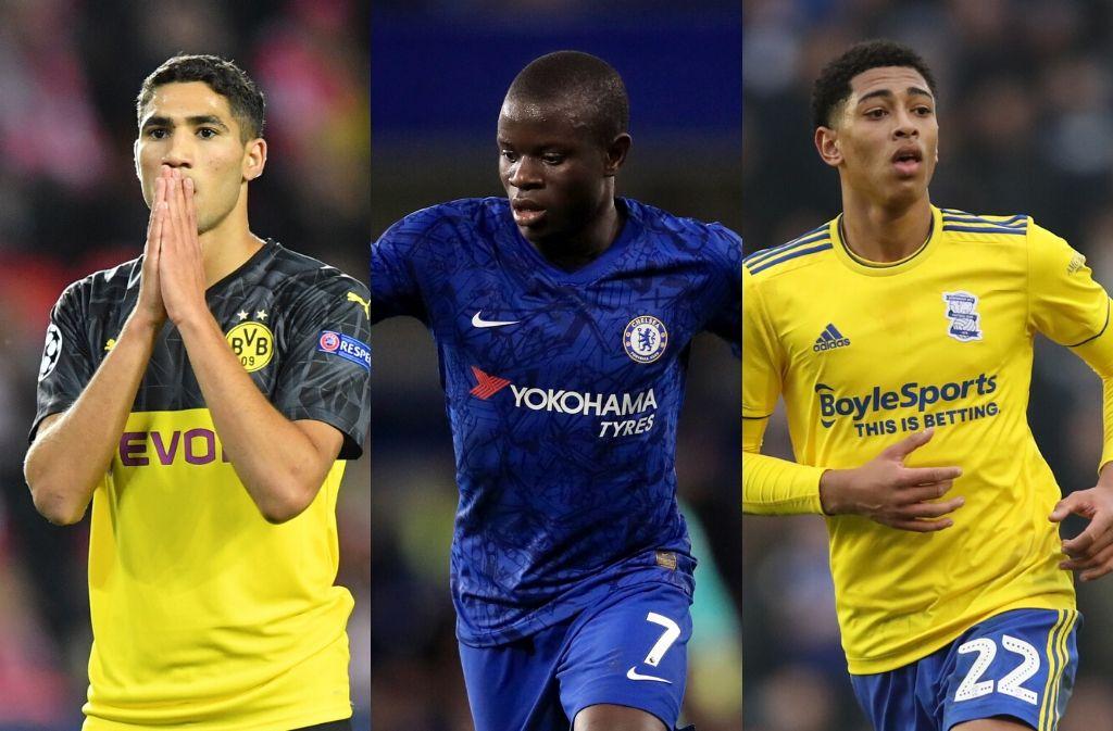 Achraf Hakimi of Borussia Dortmund, N'Golo Kante of Chelsea, Jude Bellingham of Birmingham City